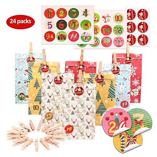 KATELUO Adventskalender Zum Befüllen,24 Papier Candy Tüten,Bunt Geschenktüten Shower Birthday Party Dekorationen Supplies (24 Stück)