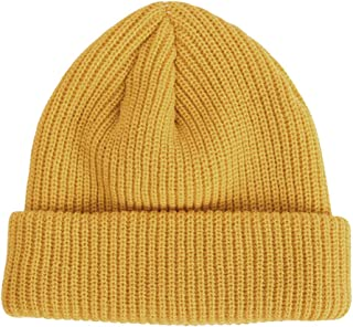 Ez-sofei Unisex Adult Retro Knit Rolled Cuff Skull Caps Brimless Beanie Hat for Men/Women