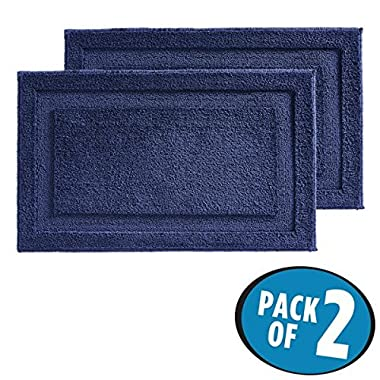 mDesign Soft Microfiber Polyester Non-Slip Rectangular Spa Mat, Plush Water Absorbent Accent Rug for Bathroom Vanity, Bathtub/Shower, Machine Washable - 34  x 21  - Pack of 2, Navy Blue
