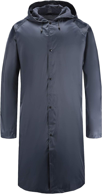 Freesmily Mens Long Raincoat Waterproof Rain Jacket with Hood Sleeves