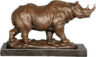 Toperkin Bronze Statues Animal Sculptures Rhinoceros Marble Base Garden Statue