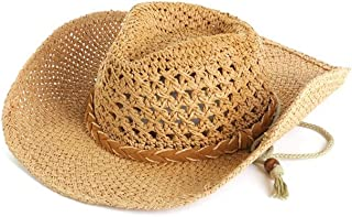 AINIYF Men's Sunshade Straw Hat Summer Outdoor Climbing Bike Sunscreen with Chin Band Breathable Mesh (Color : Brown)