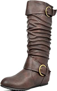 Women's Knee High Low Hidden Wedge Riding Boots