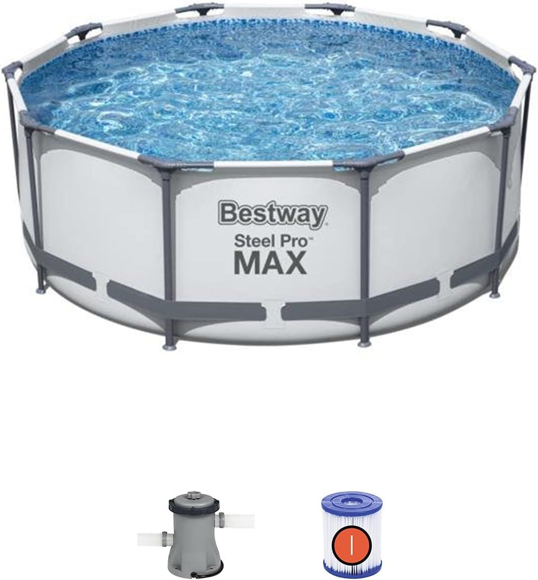 Piscina Desmontable Tubular Bestway Steel Pro MAX 305x100 cm con Depuradora Cartucho 1.249 L/H con Escalera