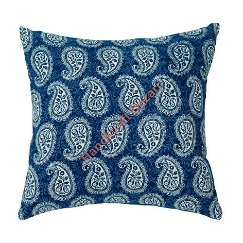 Handicraft Bazarr Funda de almohada decorativa de Navidad, 40,6 x 40,6 cm, diseño de bloque de mano impreso, funda de cojín vintage, funda de cojín bohemia tradicional