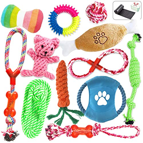 BoaVida Dog Rope Toys13 Packs-Puppy Chew Toys for Teething Small Dog Aggressive Chewers-Squeaky Plush Dog Toys Gift Set