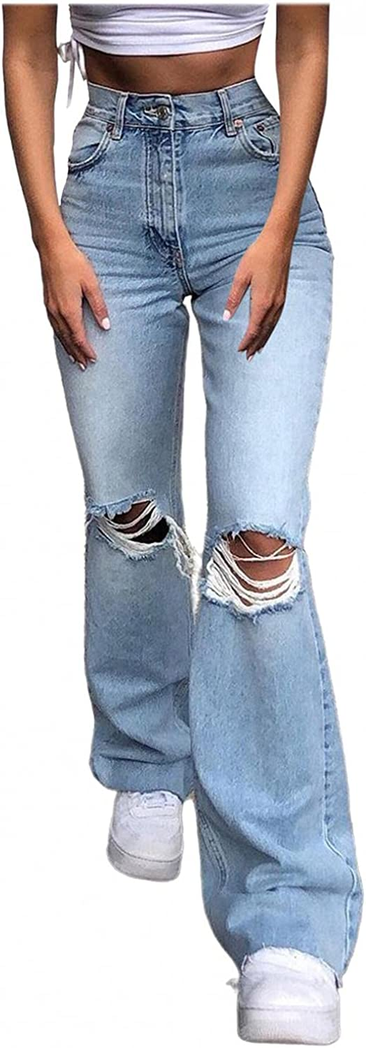 Fudule Y2K Fashion Jeans for Women, Teen Girls 90s Vintage Flared Pants with Holes Casual Wide Leg Trousers Ripped Pants