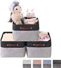 Mangata Składany zestaw pudełek do przechowywania, duże materiałowe kosze do przechowywania półek, szafy, 40 cm x 30 cm x ...
