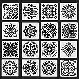 Jurxy 16 unidades de plantillas de dibujo de mandala reutilizables para pintar con puntos herramientas de pintura geométrica pintura sobre madera de aerógrafo rocas y paredes arte 6 pulgadas Estilo 2