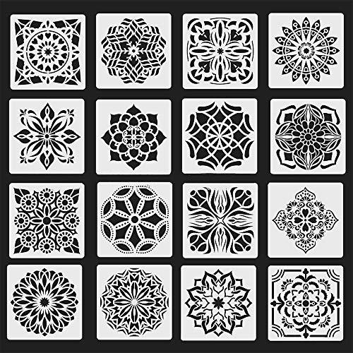 Jurxy 16 Stück Mandala Schablone Set Blumenmuster Zeichenschablone Malerei Wand Dotting Malvorlage Airbrush Vorlage Rock Punktierung Wiederverwendbar Groß Laserschnitt Malschablone - 15x15cm Stil 2