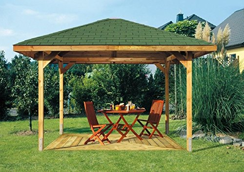 2-DAY PREMIUM SHIPPING AVAILABLE 3m x 3m (Ex 3.5m x 3.5m) GARDEN WOODEN PAVILION GAZEBO PERGOLA HOT TUB WITH SHINGLES