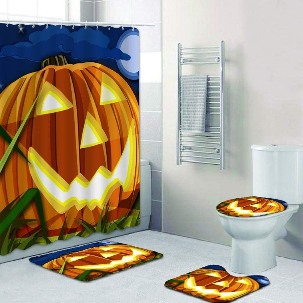 ARTIFUN Halloween Shower Max 85% OFF Curtain Set- 4 Pumpkin Milwaukee Mall Printed 3D PCS T
