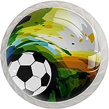 FURINKAZAN Kabinet Knop Trek Handvat Abstracte Voetbal Print 4-Pack Keuken Kastdeur