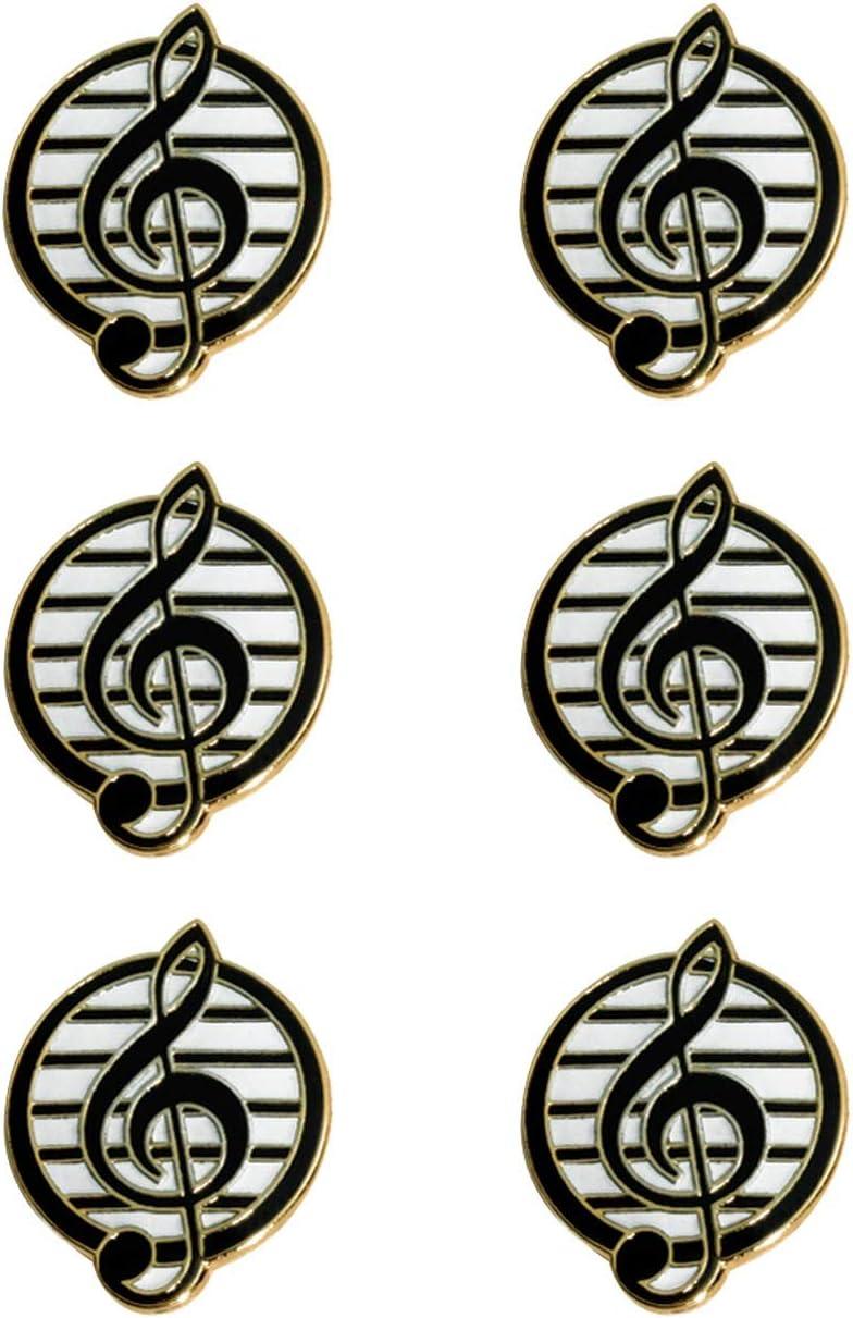 Anderson's Black Treble Clef Music Award Pins, 6 Count