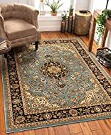 Well Woven Noble Medallion Light Blue Persian Floral Oriental Formal Traditional Area Rug 120 x 160 ...