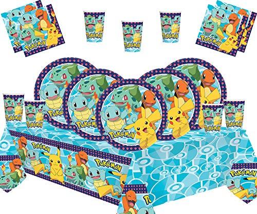 Pokemon Kindergeburtstagsfeierdekoration - Teller Tassen Servietten Tischdecken Mit Gratis-Ballonpackung für 16 Gäste