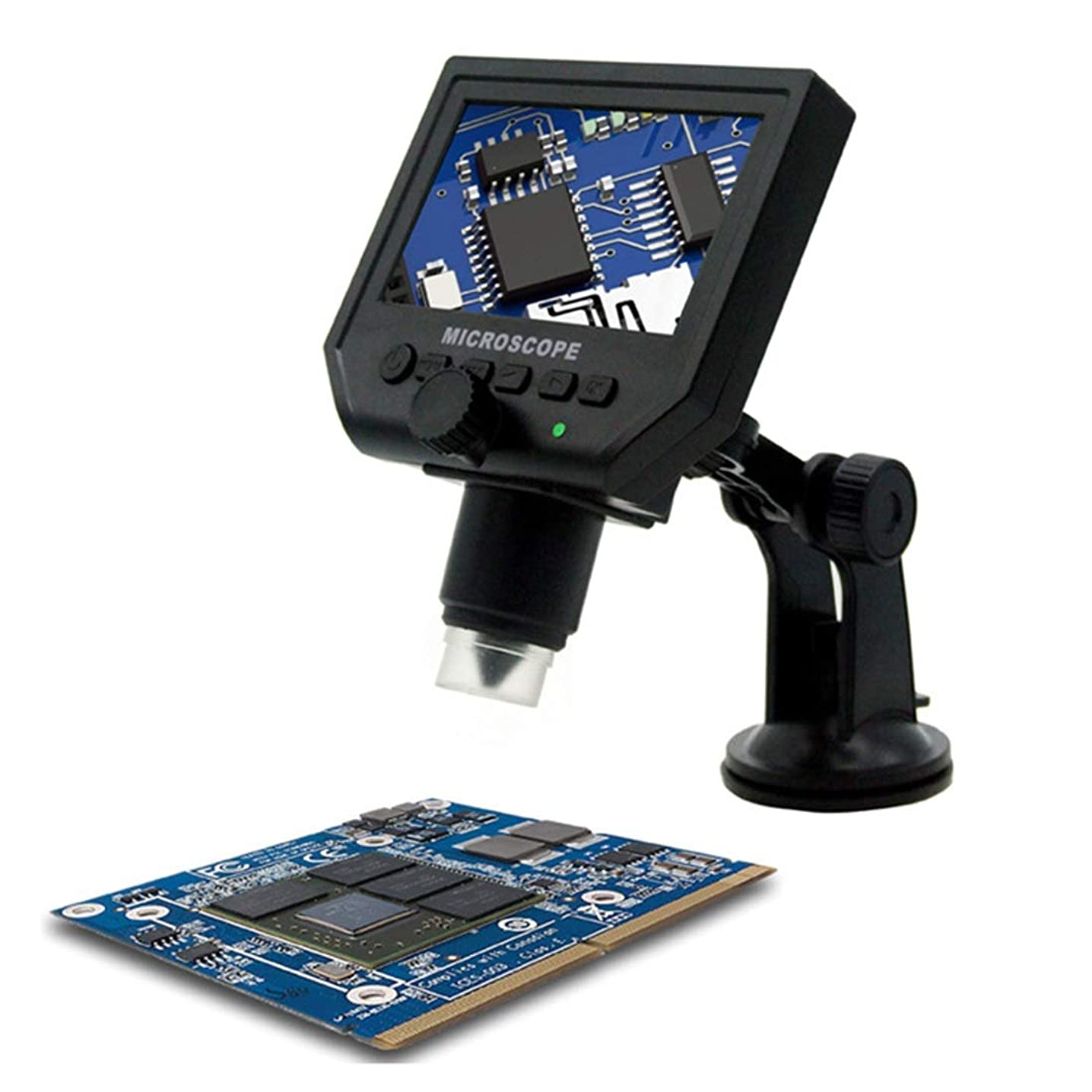AUSWIEI 600x Digital Microscope 3.6MP Camera with Flexible Arm and 4.3inch Screen, Suitable for Phone PCB Clock Service