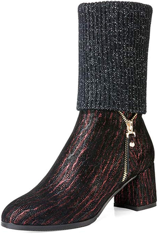 Höga klackar för kvinnor i vinter med Martin Martin Martin stövlar Plus sammet Slim stövlar hög klack s (färg  röd, Storlek  36)  spännande kampanjer