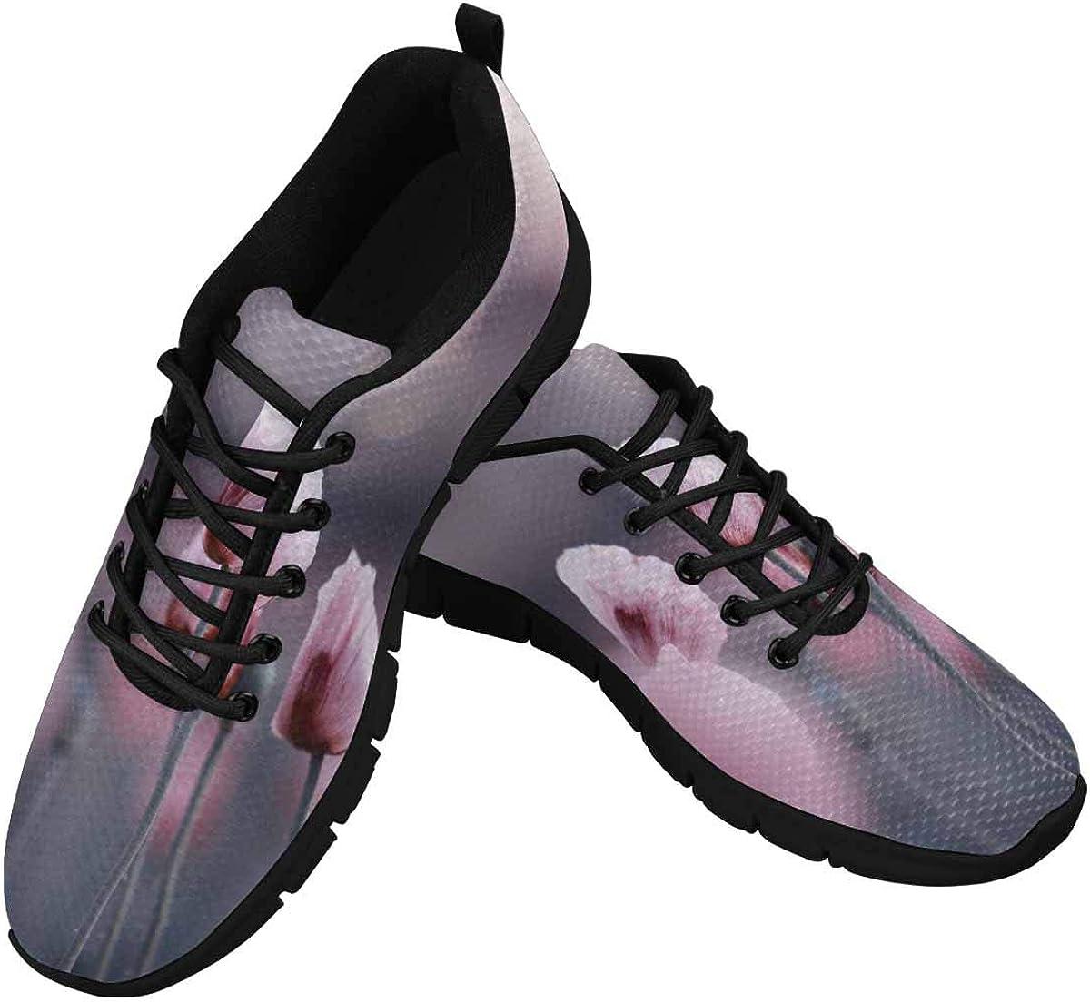 INTERESTPRINT Lilac Poppy Flowers Women Walking Shoes Comfortable Lightweight Work Casual Travel Sneakers