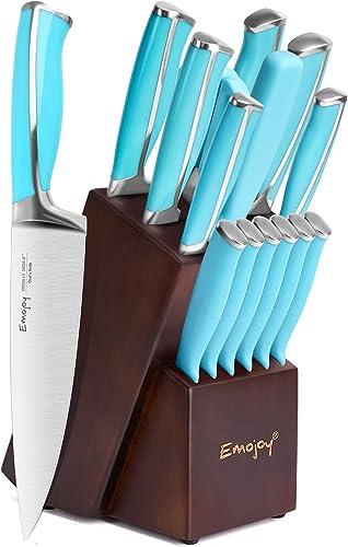 popular Emo popular joy Knife Set, online 15-Piece Kitchen Knife Set with Wooden Block, Blue Handle for Chef Knife Set, German Stainless Steel Perfect Cutlery Set online sale