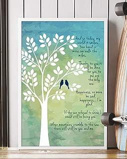 Trendora Decor Thank You Song Lyrics Portrait Poster Print (12