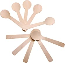 Mini Skater 50 Pcs Round Wooden Spoons Small for Kitchen Ice Cream Dessert Cutlery Tableware