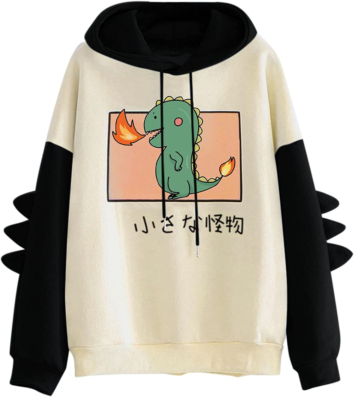 iQKA Women Cute Sweatshirt Cartoon Dinosaur Printed Long Sleeve Hoodie for Teen Girls Pullover Shirt Tops