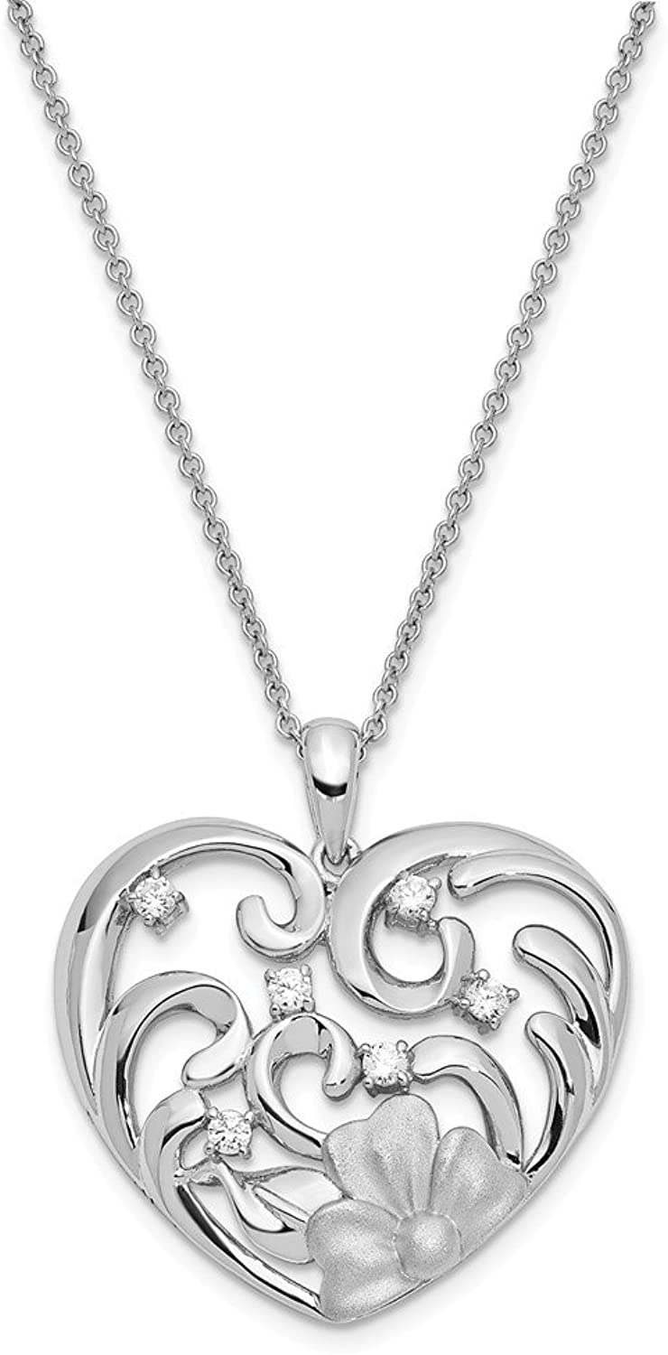 925 Sterling Silver CZ Antiqued Satin Finish She Is Beautiful 18in Necklace