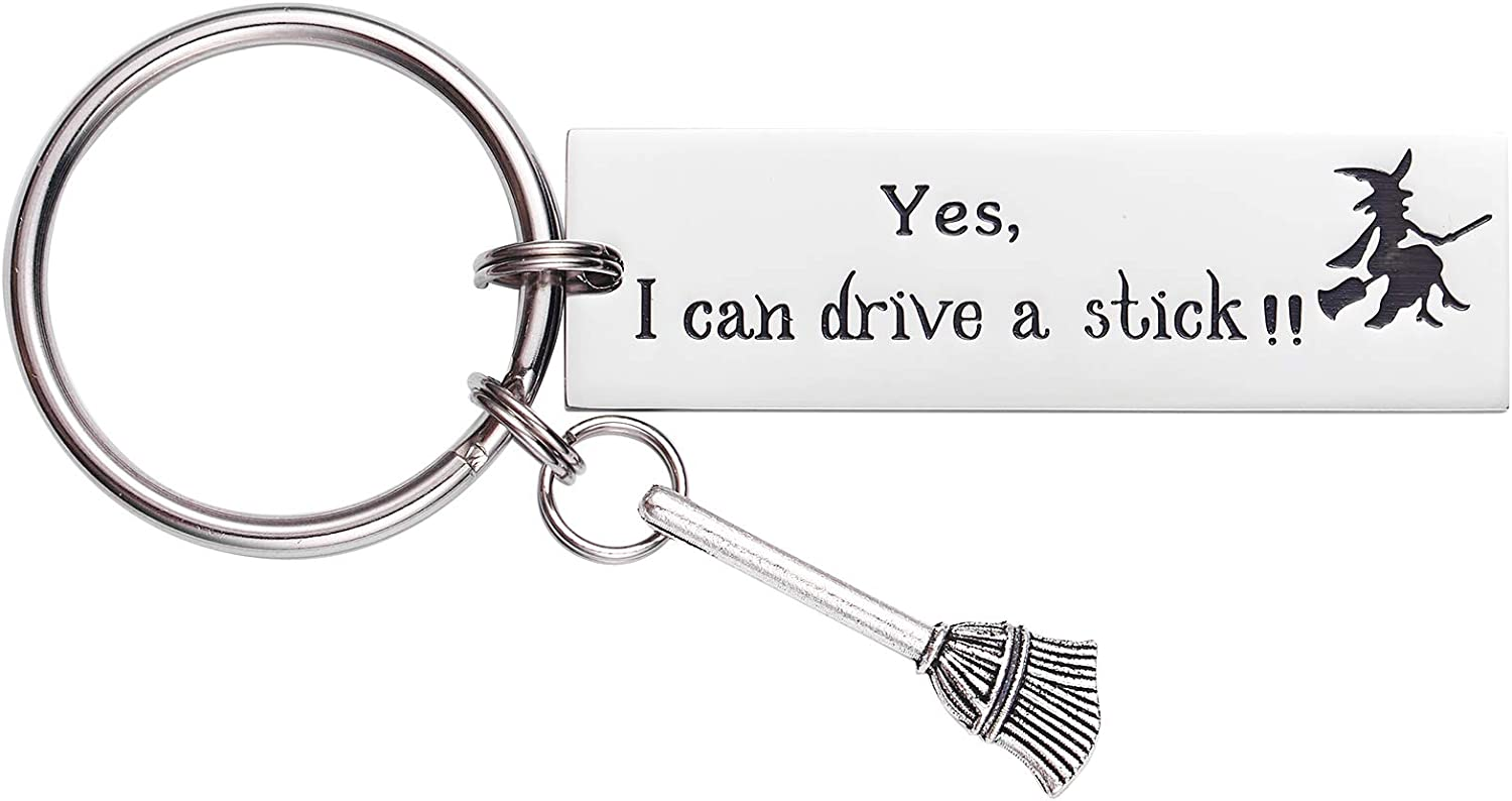 Cute Cool Funny Keychain For Women Witchy Gifts Keychains Halloween Witch Yes I Can Drive A Stick