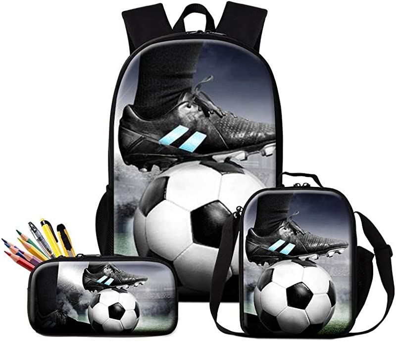 GIVE ME BAG Generic Soccer Backpack For Boys Football Prints School Lunch Cooler Bag Cool Lunch Box Pencil Case Day Pack For Kids
