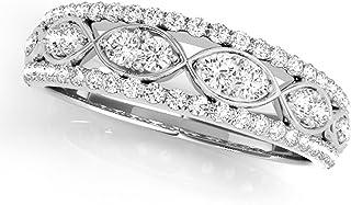 0.50 Carat Round antique Diamond Wedding Band For Women | 14K Solid White Rose Yellow Gold |1/2 Ct Lightweight Diamond Bri...