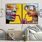 Cool Graffiti Girl Poster Modern Lady Portrait Wall Art Graphic Wall decoración del hogar,Pintura sin Marco,50X75cmx2