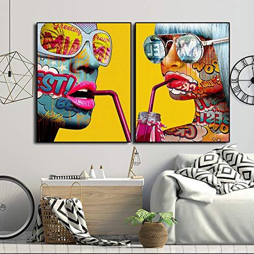ganlanshu 2pcs Graffiti Cool Girl Imprimir en Lienzo para Impreso en póster e Impresiones Pintura Sala de Estar Decoración para el hogar Cartel,Pintura sin Marco,60x90cmx2