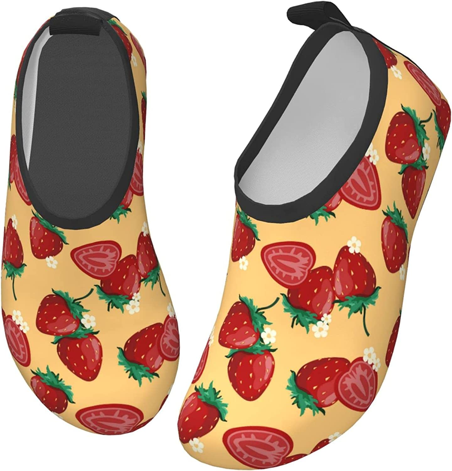 Jedenkuku Cute Strawberry Fruit Yellow Children's Water Shoes Feel Barefoot for Swimming Beach Boating Surfing Yoga