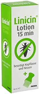 Linicin Lotion 15 min, mit Läusekamm, beseitigt Kopfläuse und Nissen, 100 ml