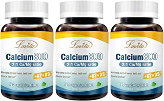 Lovita Calcium 800mg, Highly Absorbable Calcium Citrate with VIT D3 & K2, Magnesium, Zinc, Copper and Manganese, 120 Veget...