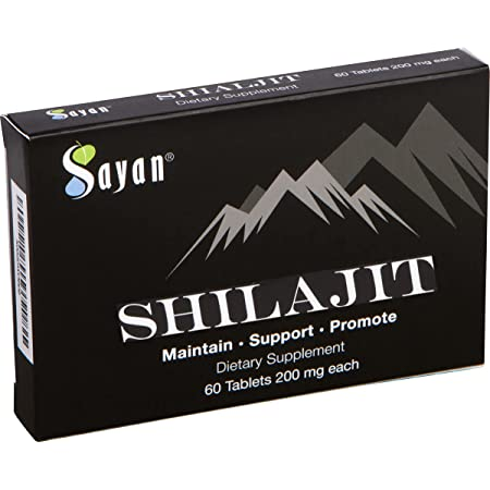 Sayan Pure Shilajit Tablets, 1-2 Month Supply, Organic 60 Drops, Fulvic Acid & Trace Minerals Supplement for Immune Support, Natural Liver Detox, Energy Boost, Genuine Black Resin Mineral Pitch