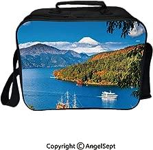 Reusable Lunch Bag With Adjustable Shoulder Strap,Lake Ashi Mount Fuji Japan Town Hakone Travel Touristic Destination Decorative Green Blue Orange 8.3inch,Office Work Picnic Hiking Beach Lunch Box