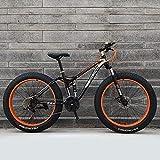GXLO Bicicletas 24/26 Pulgadas Top Bicicletas Fat Tire Bike Moto de Nieve Grasa Grande de neumáticos de Bicicletas Fat Tire Bicicletas de montaña Crucero de la Playa,Naranja,24 Inch 27 Speed