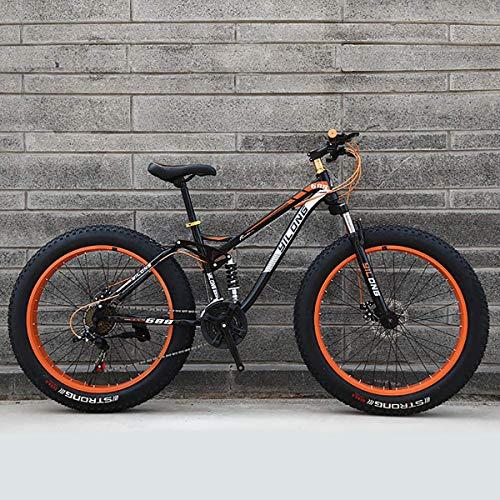 GXLO Bicicletas 24/26 Pulgadas Top Bicicletas Fat Tire Bike Moto de Nieve Grasa Grande de neumáticos de Bicicletas Fat Tire Bicicletas de montaña Crucero de la Playa,Naranja,26 Inch 27 Speed