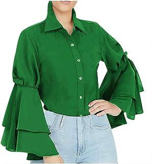 Lataw Women Tops Solid Color Sweatshirt Stylish Sexy Fashion Ruffle Sleeve Slim Long Sleeve Work Plain Tunic Blouses Casual Costume