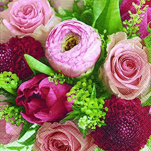 20 Serviette Blumen Vintage Pfingstrosen Rosen 25 x25 cm 3-lagig, 1/4 gefaltet auf 12,5x12,5 cm