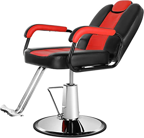 high quality Artist Hand Salon Chairs for Hair Stylist, Heavy Duty Hydraulic Barber Chair Spa Furniture Shampoo Reclining Extra Wider Seat Beauty outlet sale Hair Salon Equipment, Max Load Weight 400 LbS (Black & online sale Red) outlet online sale