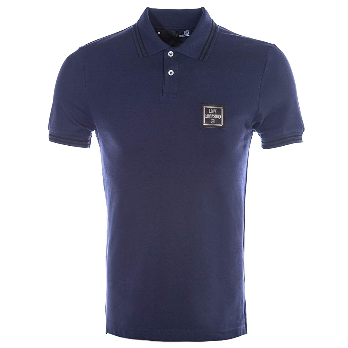 MOSCHINO Love Square Small Badge Polo Shirt in Navy