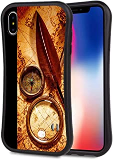 Compatible with iPhone X, iPhone 10, iPhone Xs Small Waist Phone Case, Compass Unique Elegant Design Shockproof Durable 360 Degree Full Protective Back Cover with Lanyard
