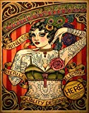 Red Horse Designs Chapel Tattoo Shop Advertisement, Full-Color Unframed Poster, Vintage Tattoo Lady