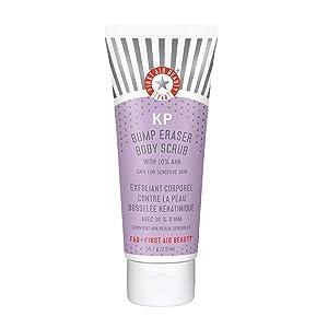 First Aid Beauty KP Bump Eraser Body Scrub Exfoliant for Keratosis Pilaris with 10% AHA 2 oz.