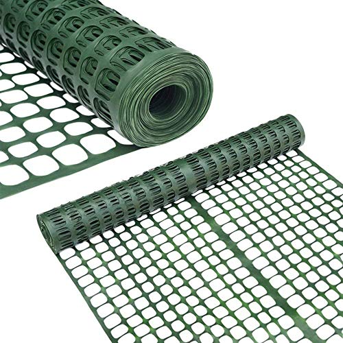 Abba Patio Snow Fence 2 X 50 Feet Plastic Safety Fence Roll Temporary Poultry Fencing Mesh Economy Construction Fencing for Deer, Lawn, Rabbits, Chicken, Poultry, Dogs, Green