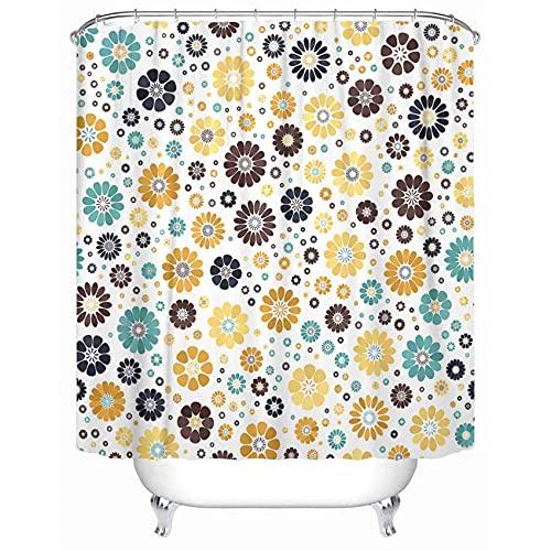 "Emvency Yellow Mustard Dark Blue Azure Chocolate Spot Flower White Mid Century Mod Waterproof Shower Curtain Curtains 72""X84"" Decorative Bathroom"