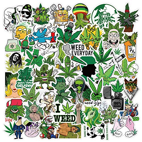 Weed Stickers for Adults - 100% Vinyl Marijuana Stickers - Stoner Sticker Bomb - Laptop,Bumper,Water Bottles,Cool Stickers (50 Pack)
